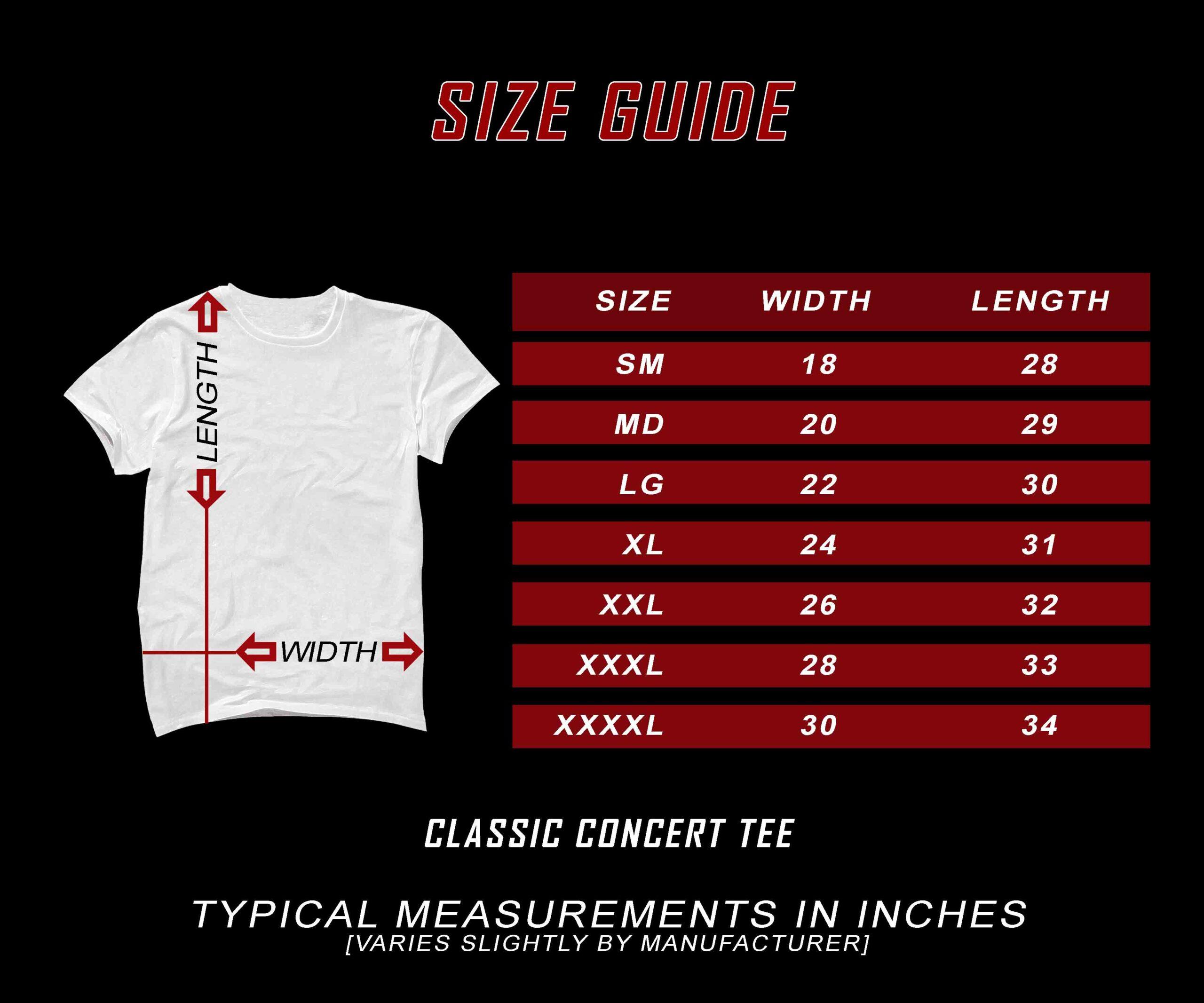 SIZE CHART t shirt